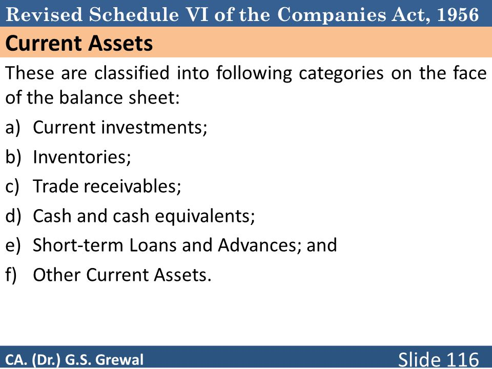 Schedule VI Current Assets. These are classified into following categories on the face of the balance sheet: