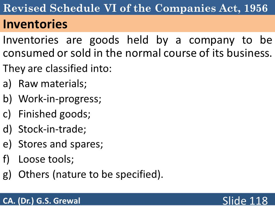 Schedule VI Inventories. Inventories are goods held by a company to be consumed or sold in the normal course of its business.