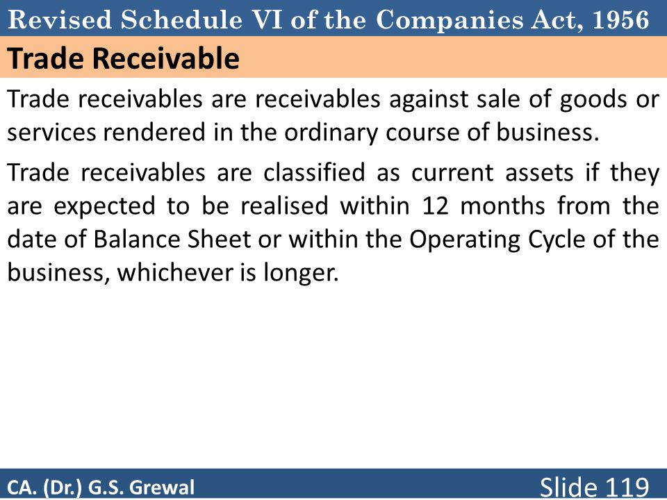 Schedule VI Trade Receivable. Trade receivables are receivables against sale of goods or services rendered in the ordinary course of business.