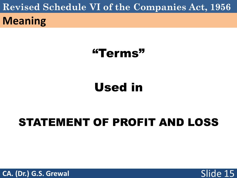 Schedule VI Terms Used in STATEMENT OF PROFIT AND LOSS