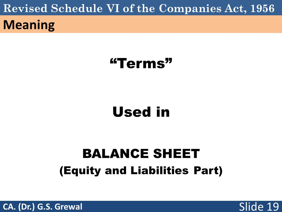 (Equity and Liabilities Part)