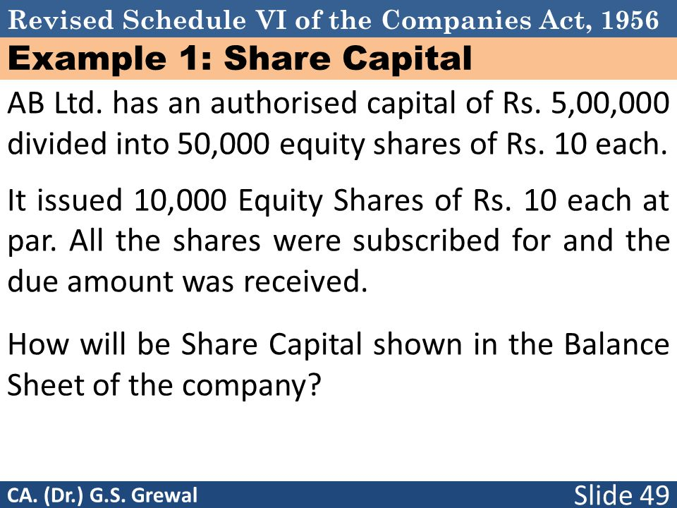 Example 1: Share Capital