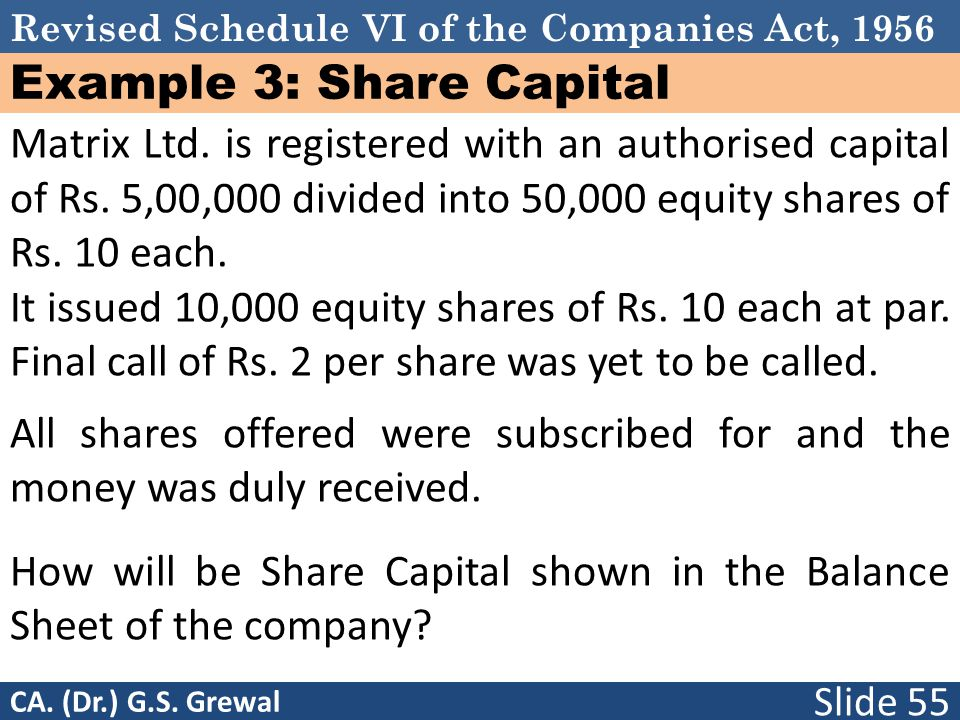 Example 3: Share Capital