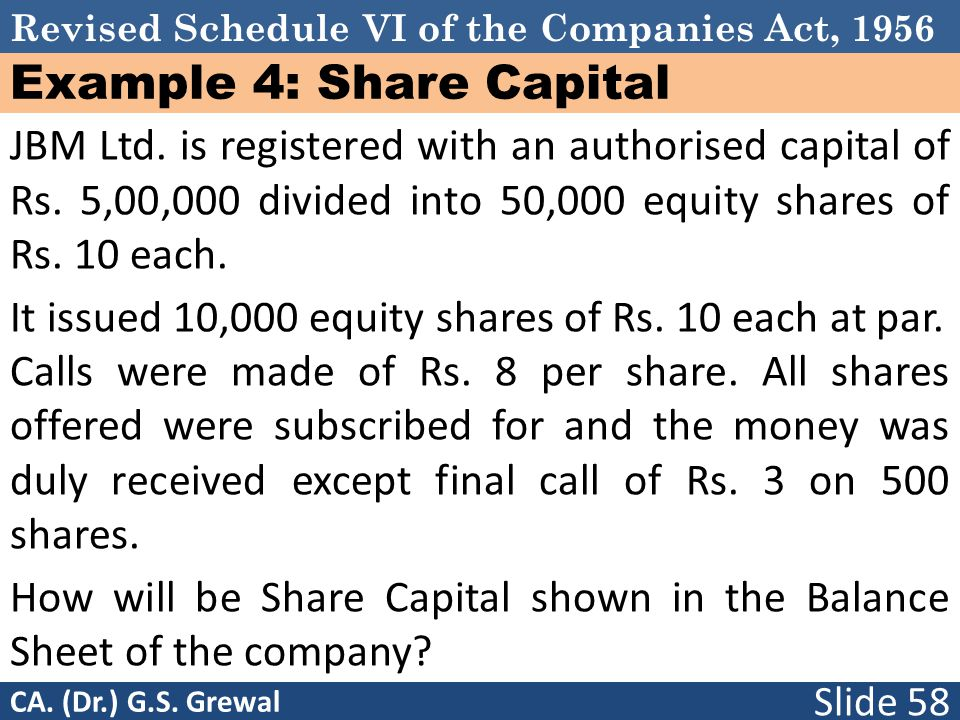 Example 4: Share Capital