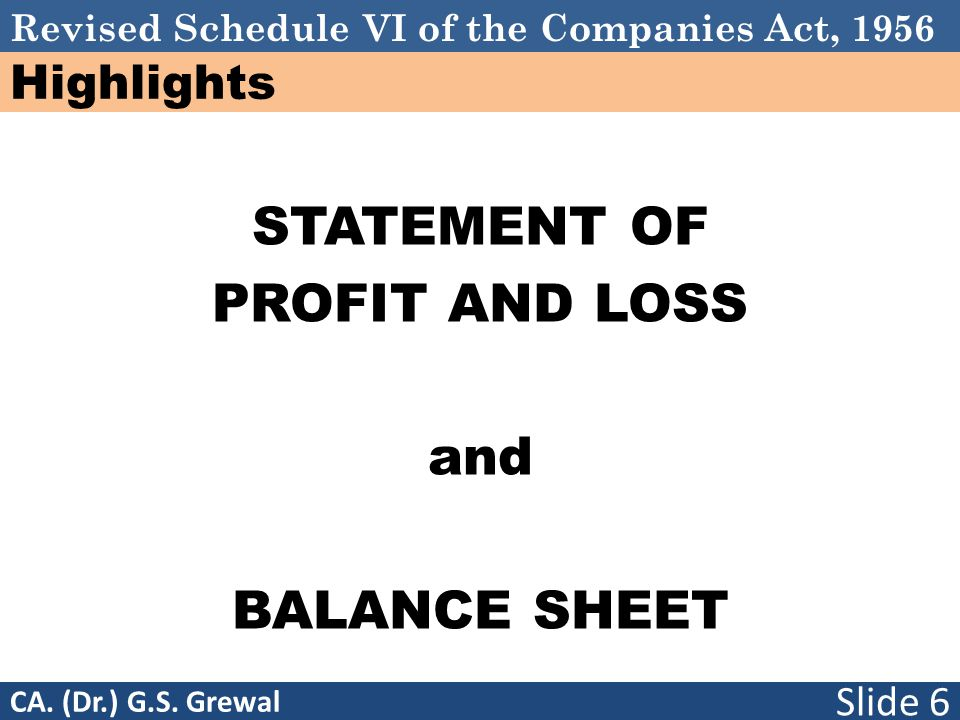 Schedule VI STATEMENT OF PROFIT AND LOSS and BALANCE SHEET