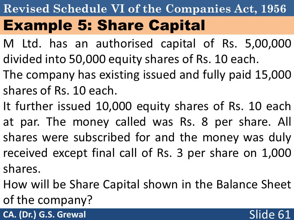Example 5: Share Capital