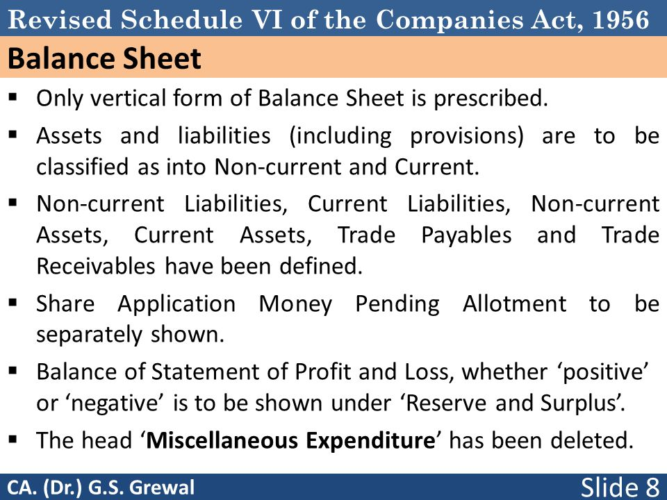 Balance Sheet Only vertical form of Balance Sheet is prescribed.