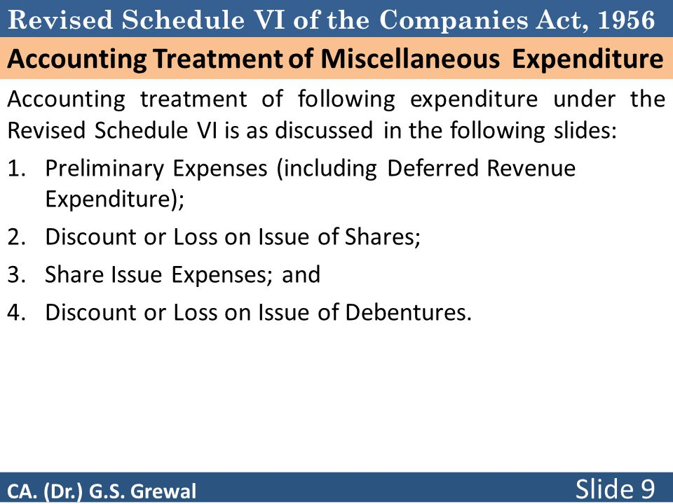 Accounting Treatment of Miscellaneous Expenditure