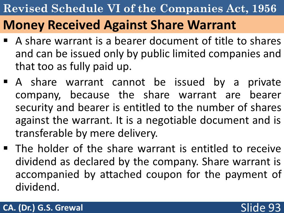Money Received Against Share Warrant