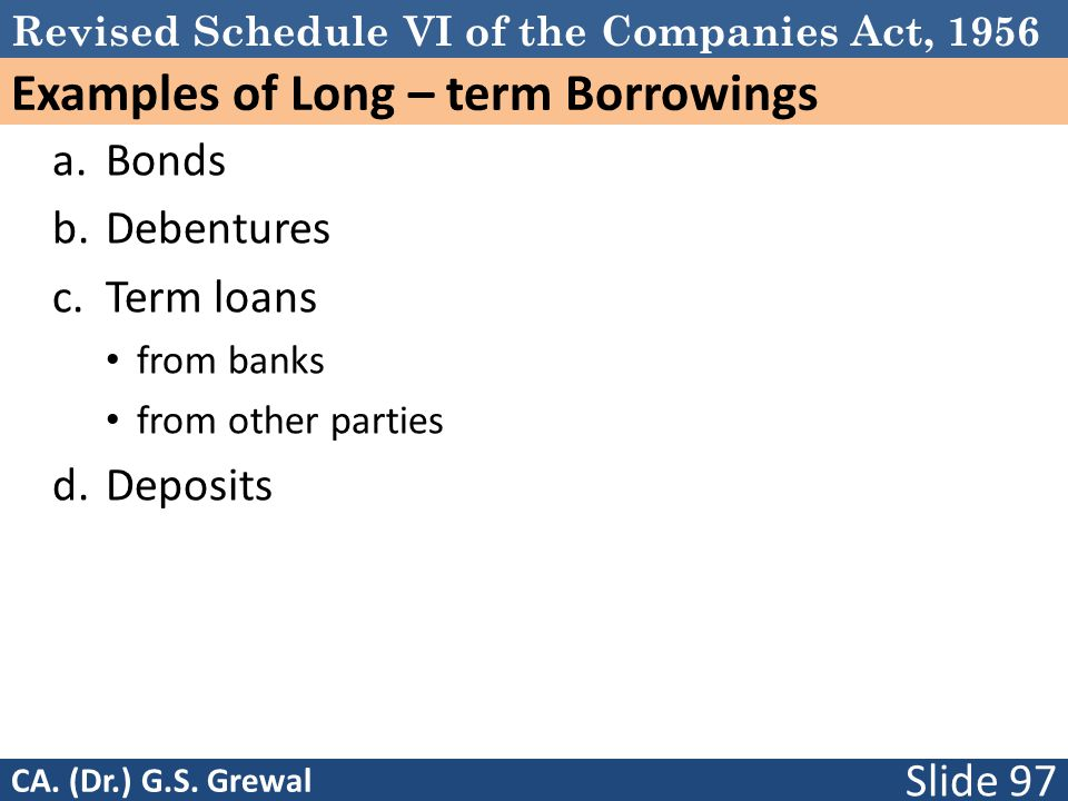 Examples of Long – term Borrowings