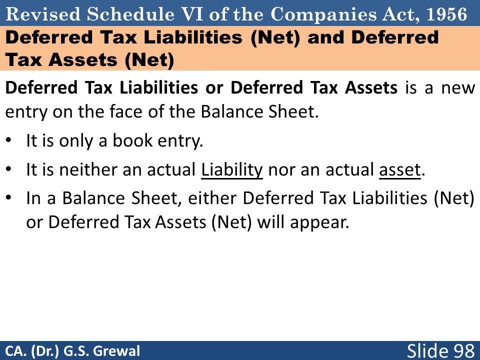 Deferred Tax Liabilities (Net) and Deferred Tax Assets (Net)