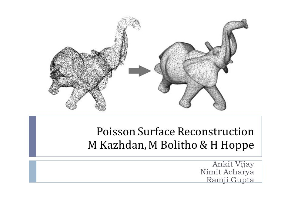 Poisson Surface Reconstruction M Kazhdan, M Bolitho & H Hoppe