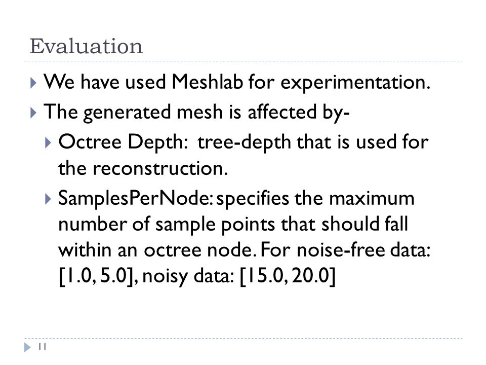 We have used Meshlab for experimentation.