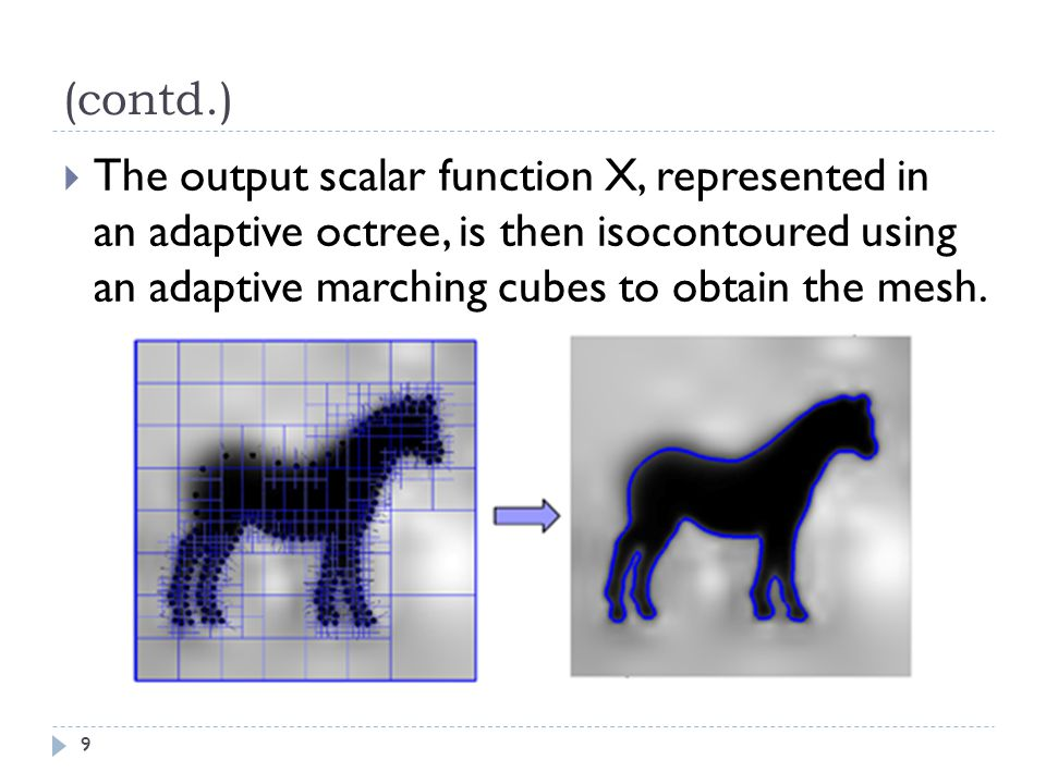 (contd.) The output scalar function X, represented in an adaptive octree, is then isocontoured using an adaptive marching cubes to obtain the mesh.