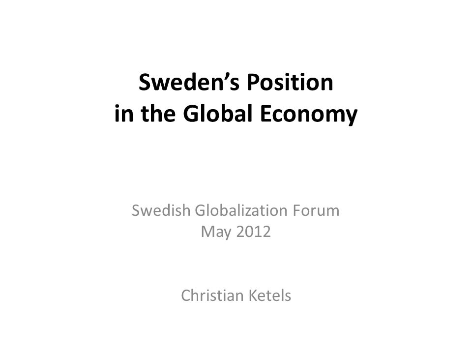 Sweden's Position in the Global Economy