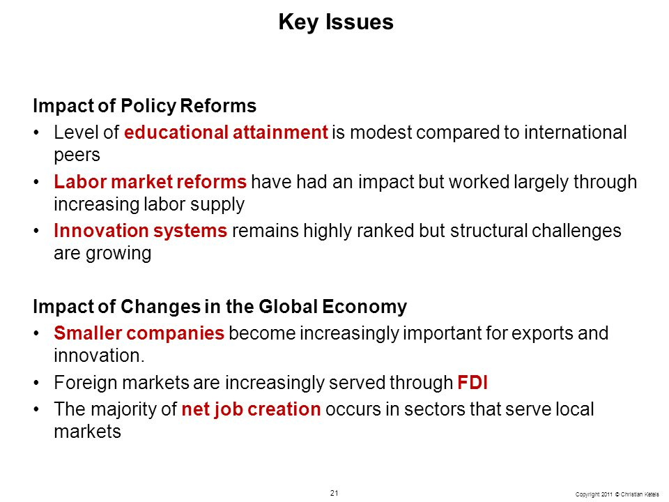 Key Issues Impact of Policy Reforms