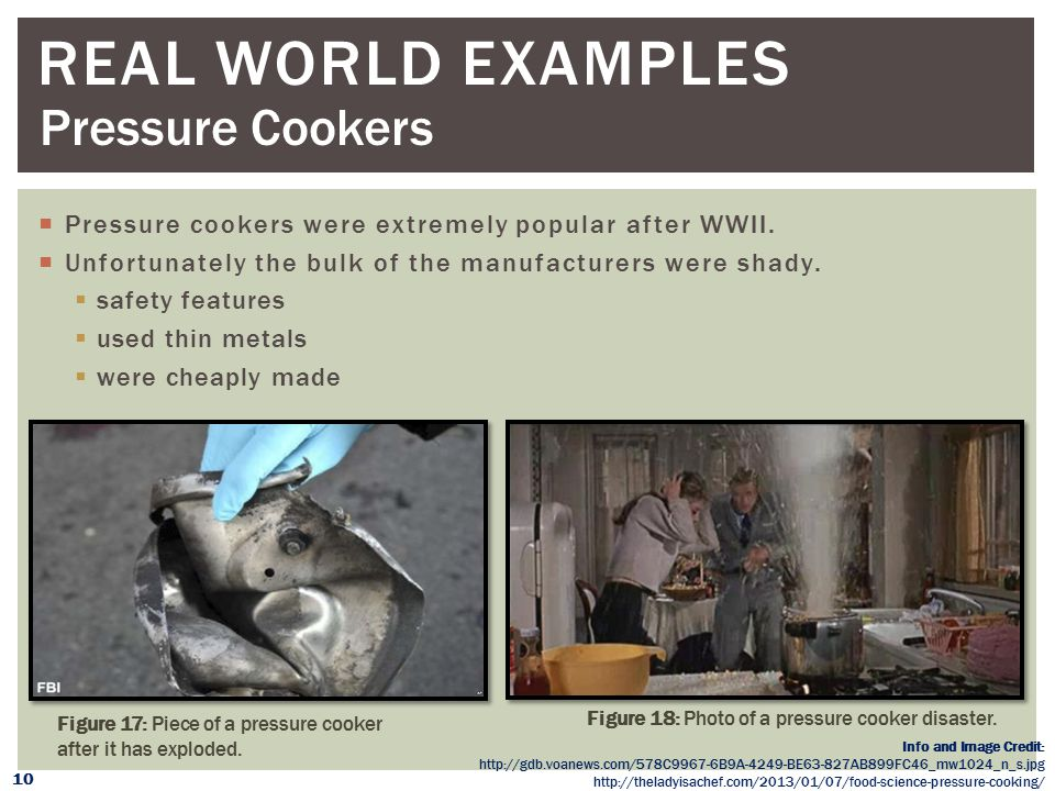 Real WORLD Examples Pressure Cookers