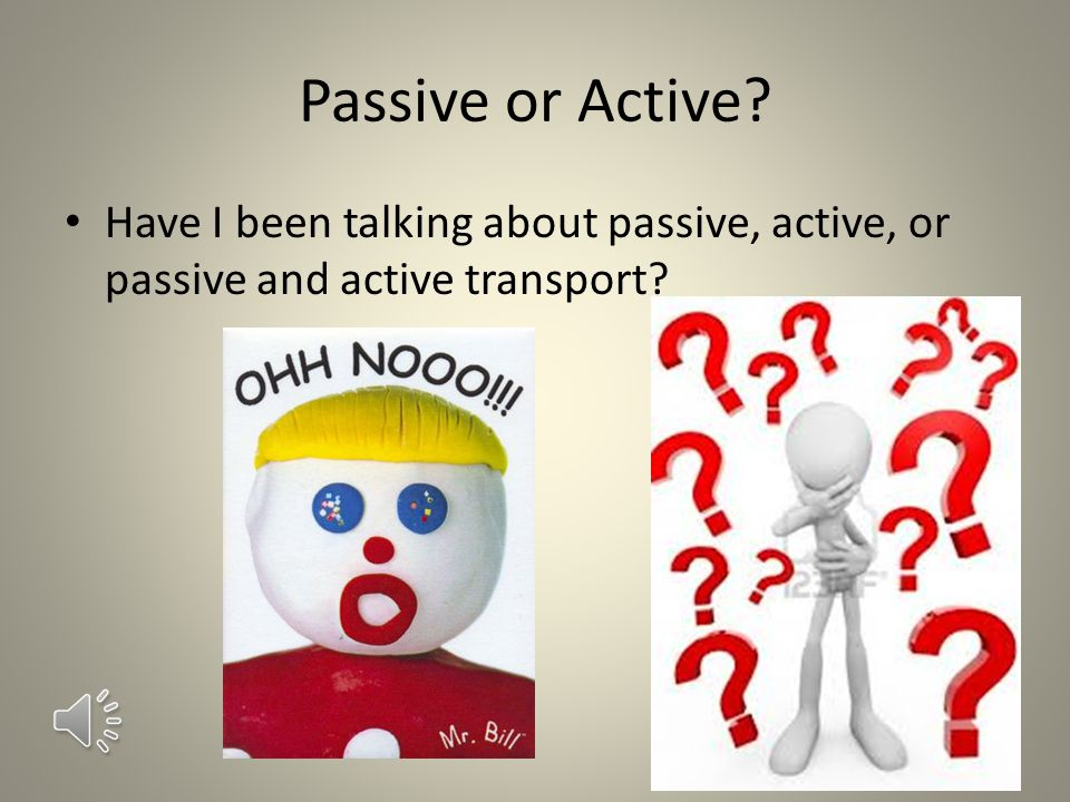 Passive or Active Have I been talking about passive, active, or passive and active transport