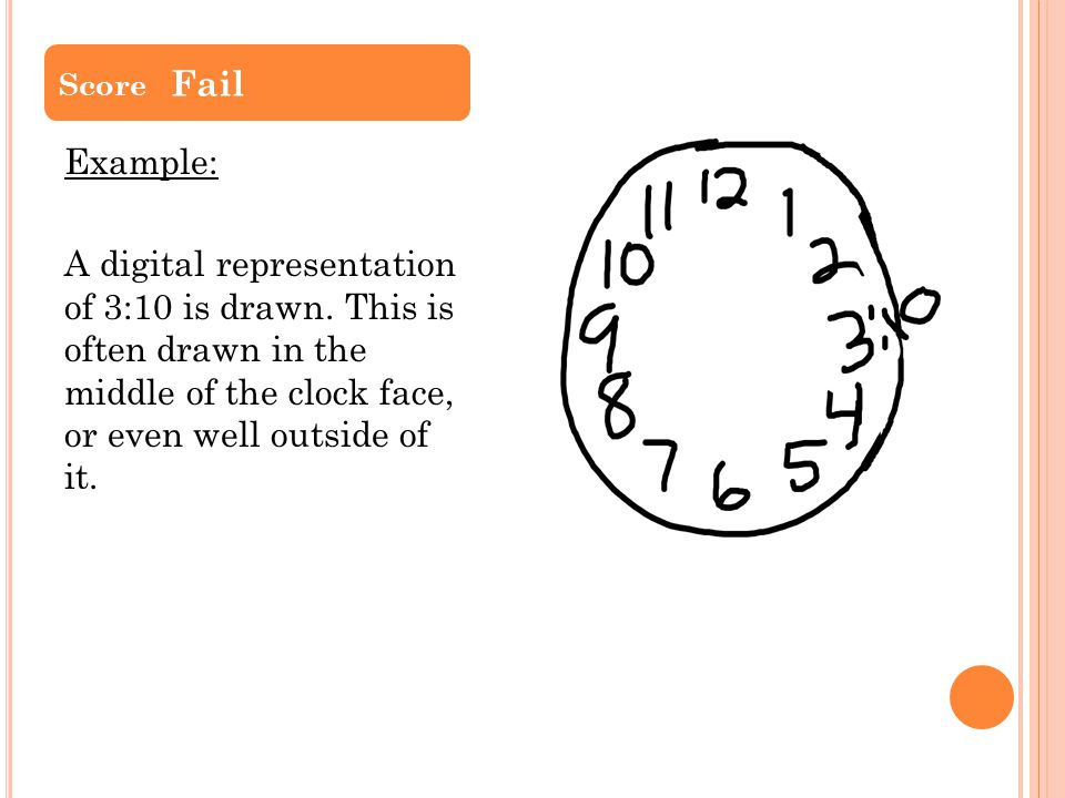 Score Fail Example: A digital representation of 3:10 is drawn.