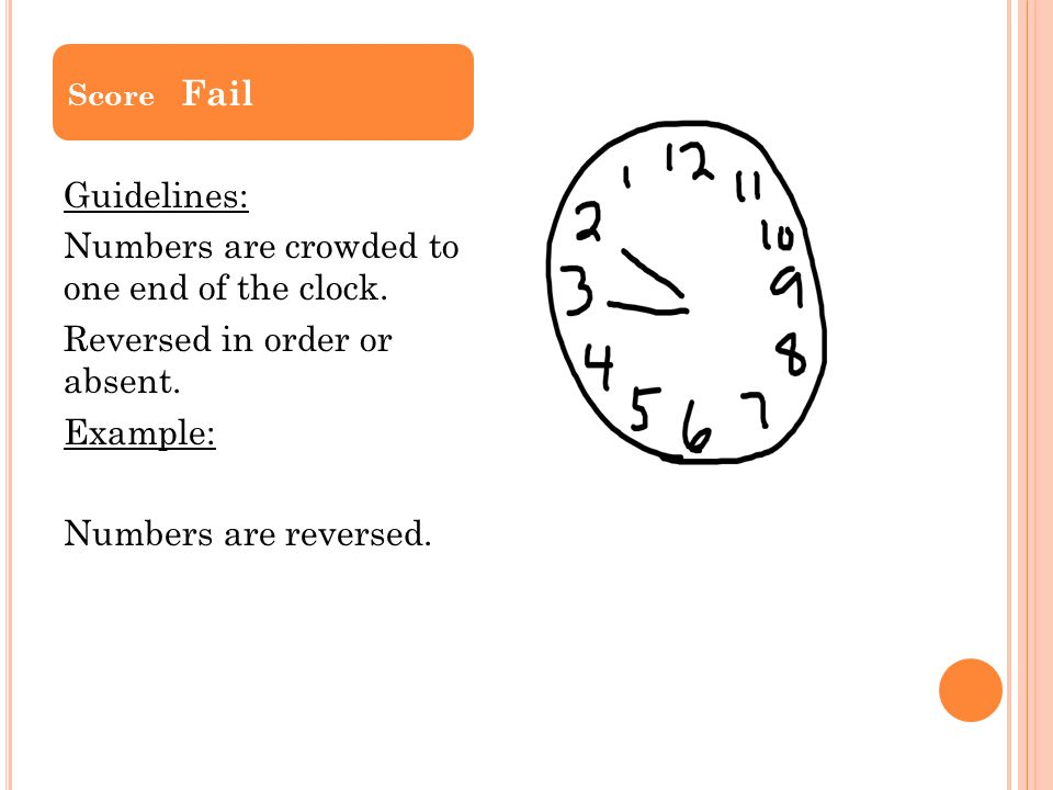 Score Fail Guidelines: Numbers are crowded to one end of the clock.