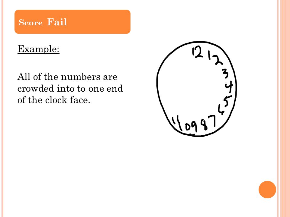 Score Fail Example: All of the numbers are crowded into to one end of the clock face.