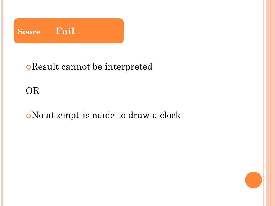 Result cannot be interpreted OR No attempt is made to draw a clock