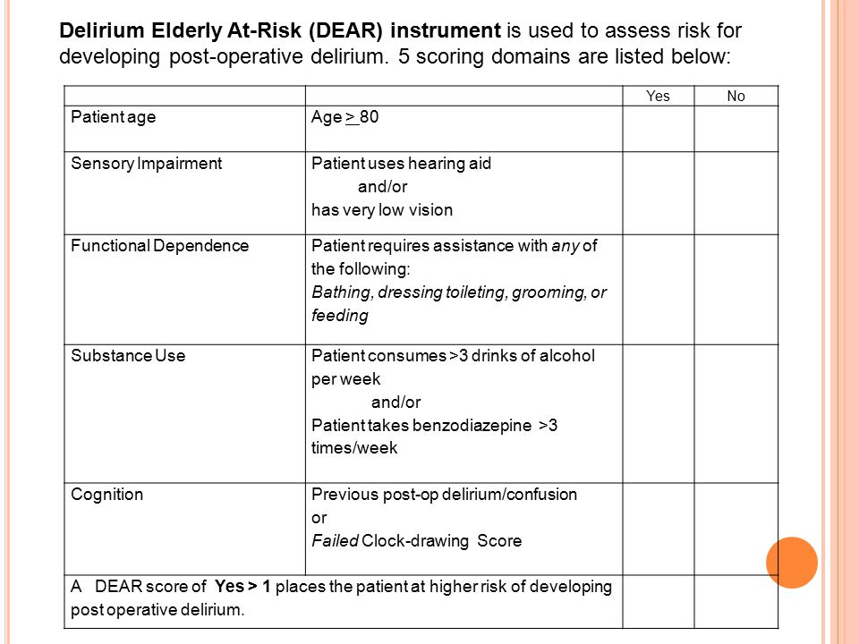 Delirium Elderly At-Risk (DEAR) instrument is used to assess risk for developing post-operative delirium. 5 scoring domains are listed below: