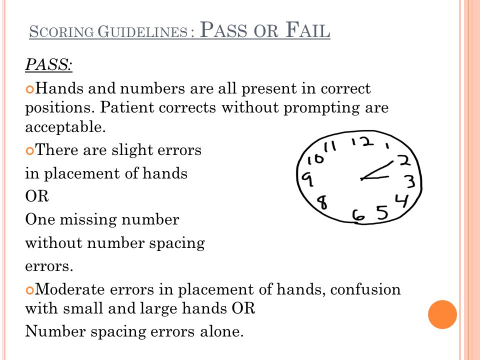 Scoring Guidelines : Pass or Fail