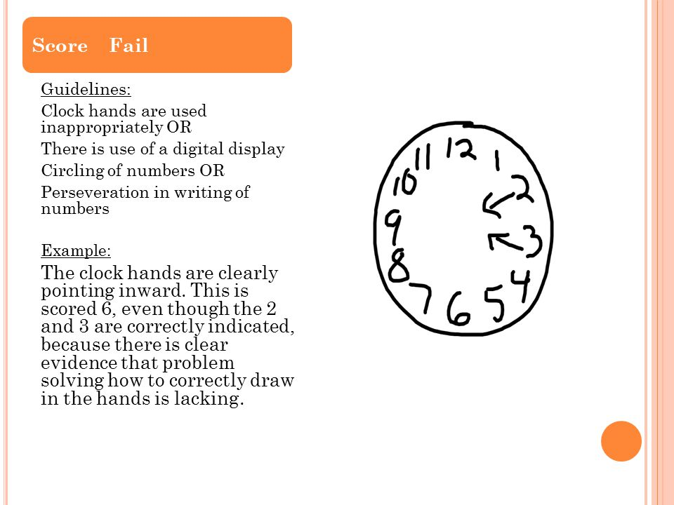 Score Fail Guidelines: Clock hands are used inappropriately OR. There is use of a digital display.