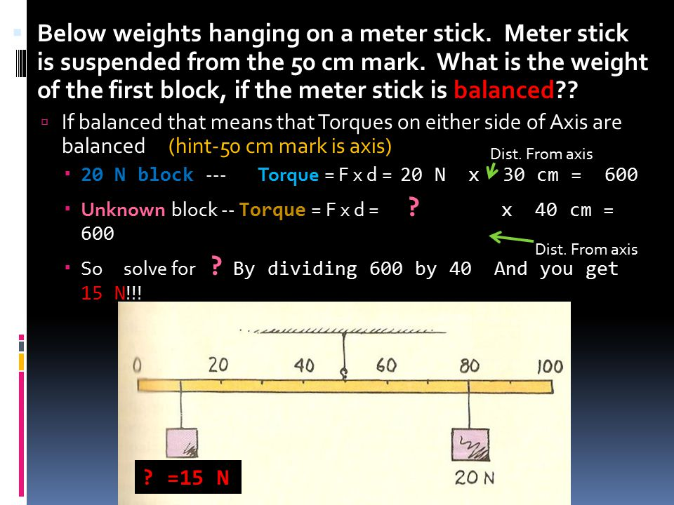 Below weights hanging on a meter stick