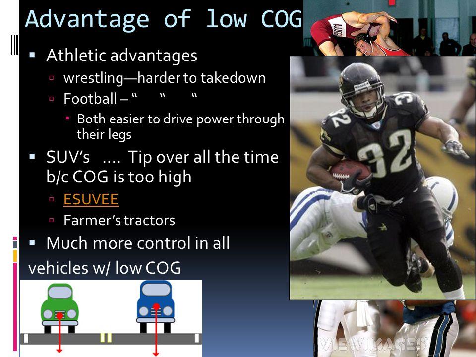 Advantage of low COG Athletic advantages
