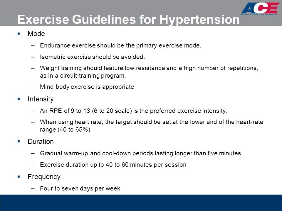 Exercise Guidelines for Hypertension