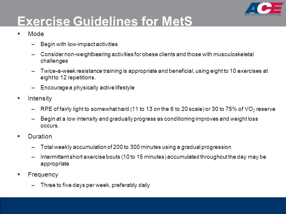 Exercise Guidelines for MetS