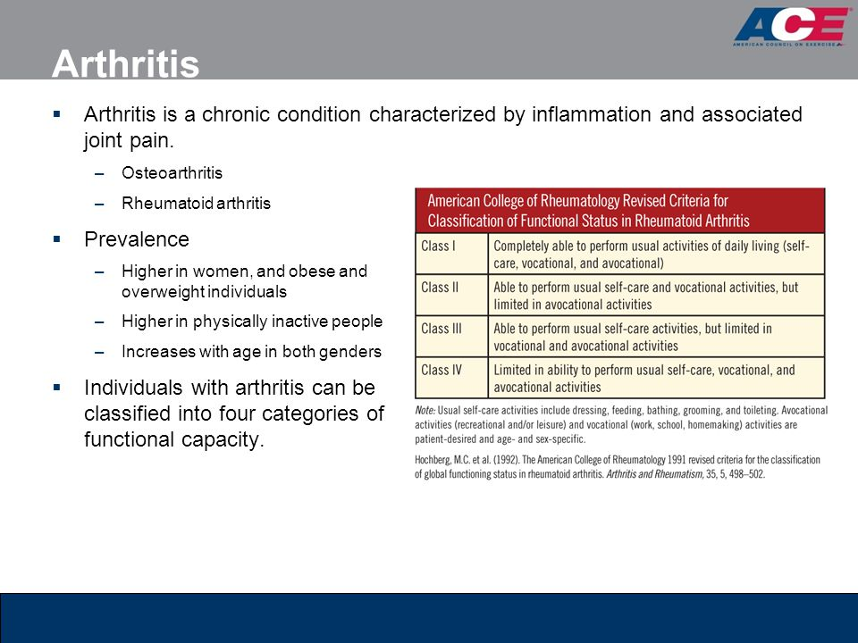 Arthritis Arthritis is a chronic condition characterized by inflammation and associated joint pain.