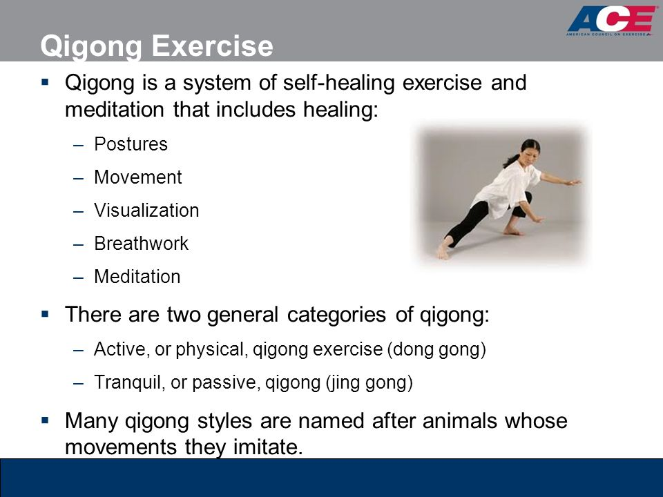 Qigong Exercise Qigong is a system of self-healing exercise and meditation that includes healing: Postures.