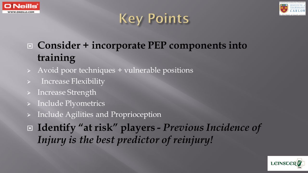 Key Points Consider + incorporate PEP components into training
