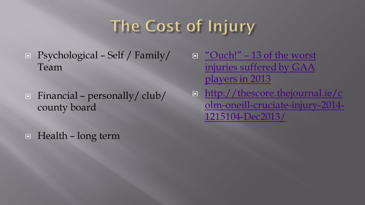 The Cost of Injury Psychological – Self / Family/ Team