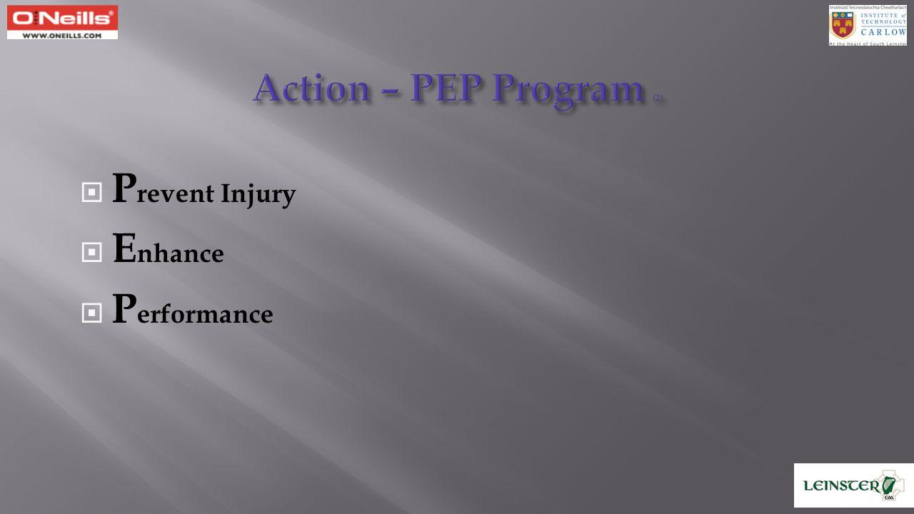 Action – PEP Program (2) Prevent Injury Enhance Performance