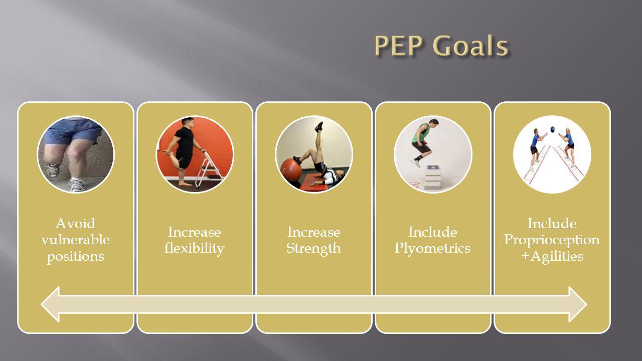 PEP Goals Avoid vulnerable positions Increase flexibility