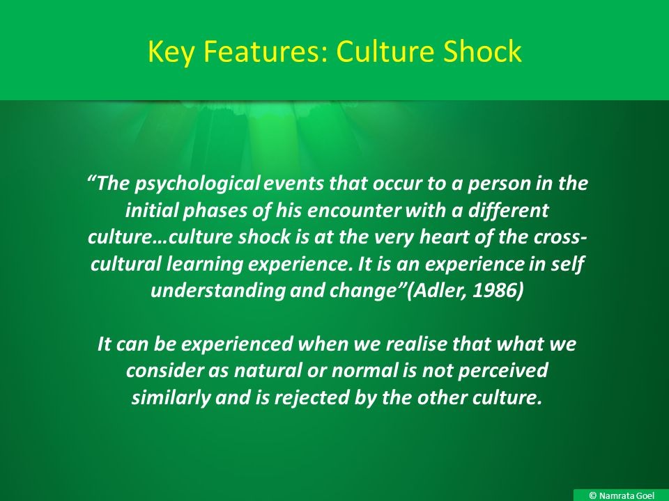 Key Features: Culture Shock