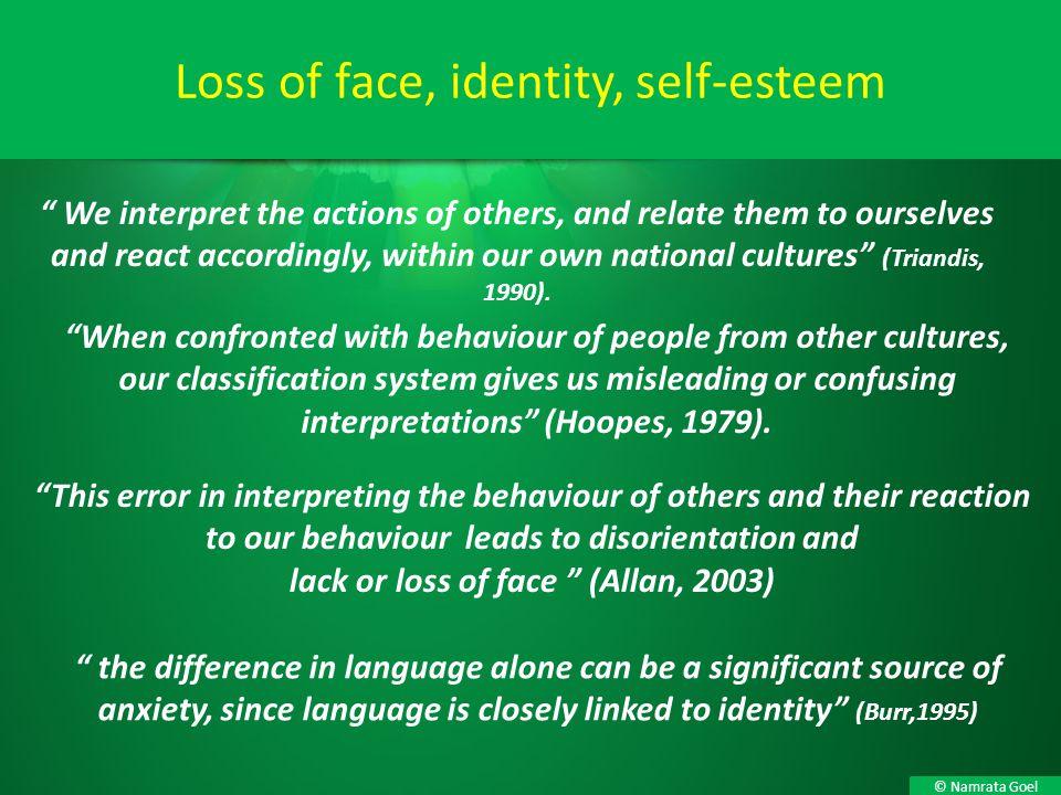 Loss of face, identity, self-esteem
