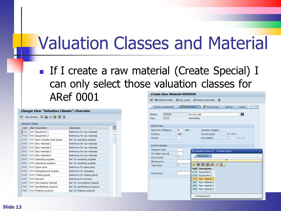 Valuation Classes and Material