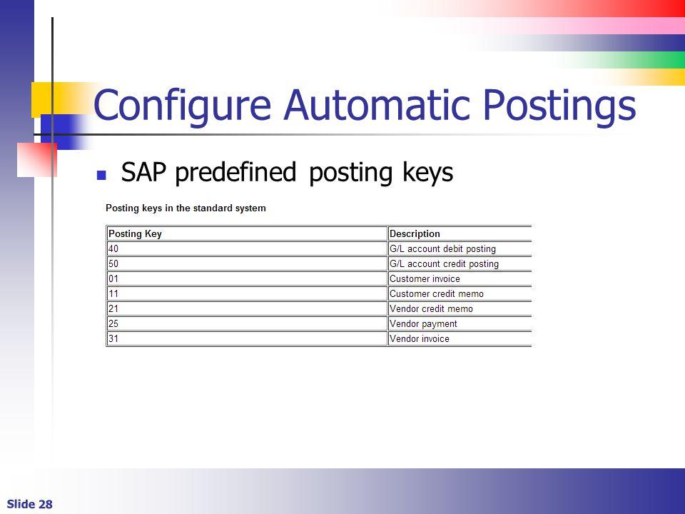 Configure Automatic Postings
