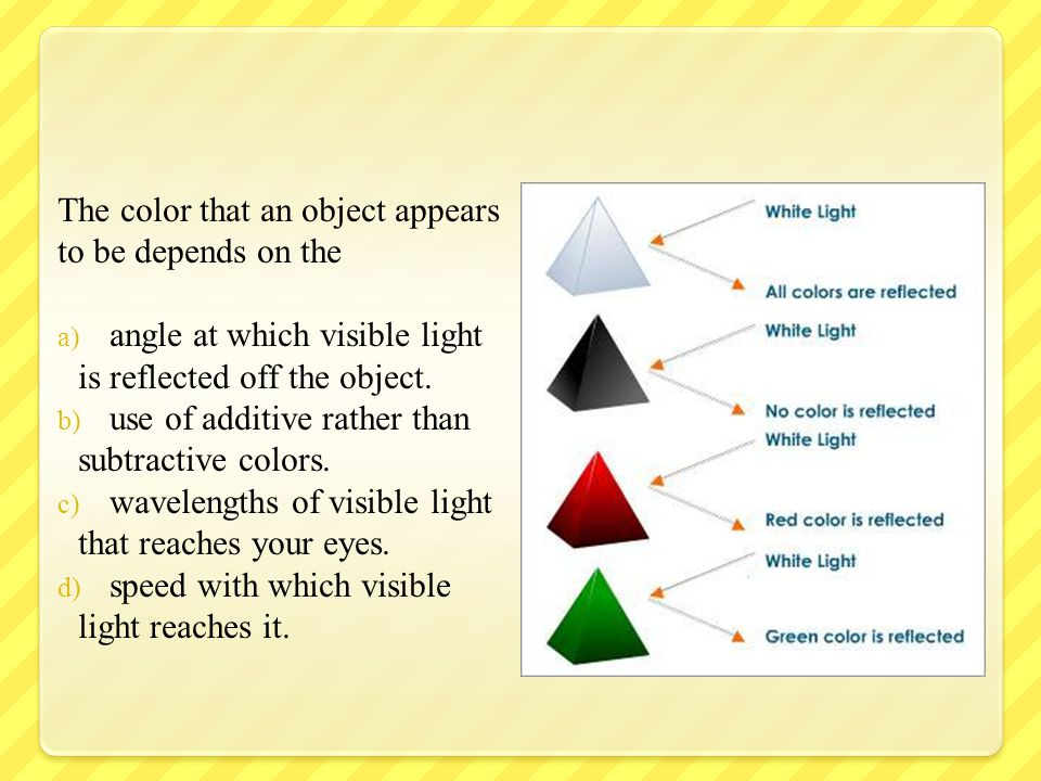 The color that an object appears to be depends on the