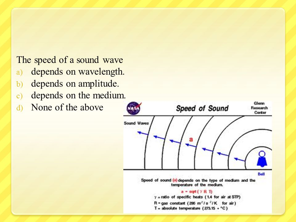 The speed of a sound wave