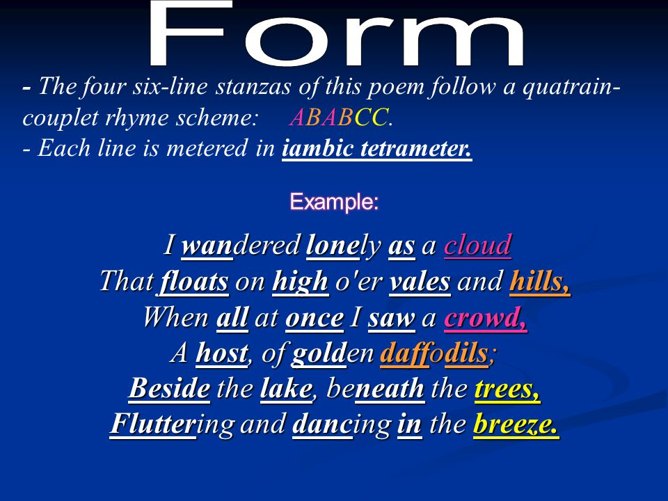 Form - The four six-line stanzas of this poem follow a quatrain-couplet rhyme scheme: ABABCC. - Each line is metered in iambic tetrameter.