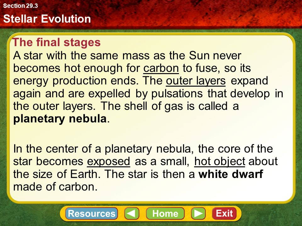 Section 29.3 Stellar Evolution. The final stages.