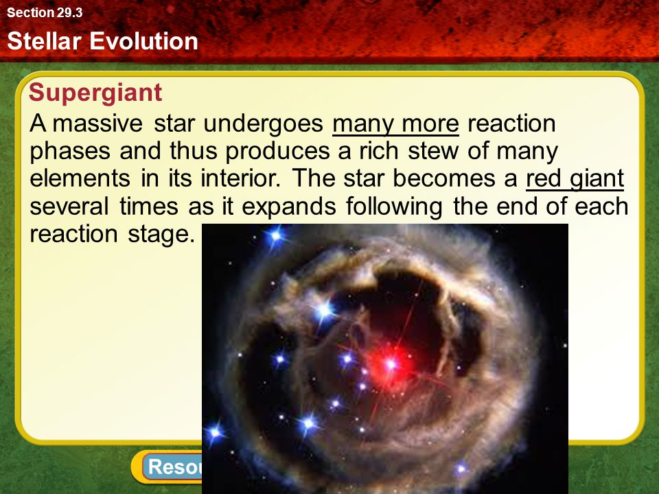 Section 29.3 Stellar Evolution. Supergiant.