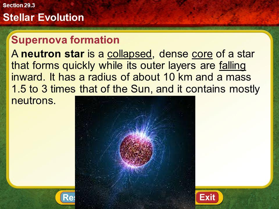 Section 29.3 Stellar Evolution. Supernova formation.