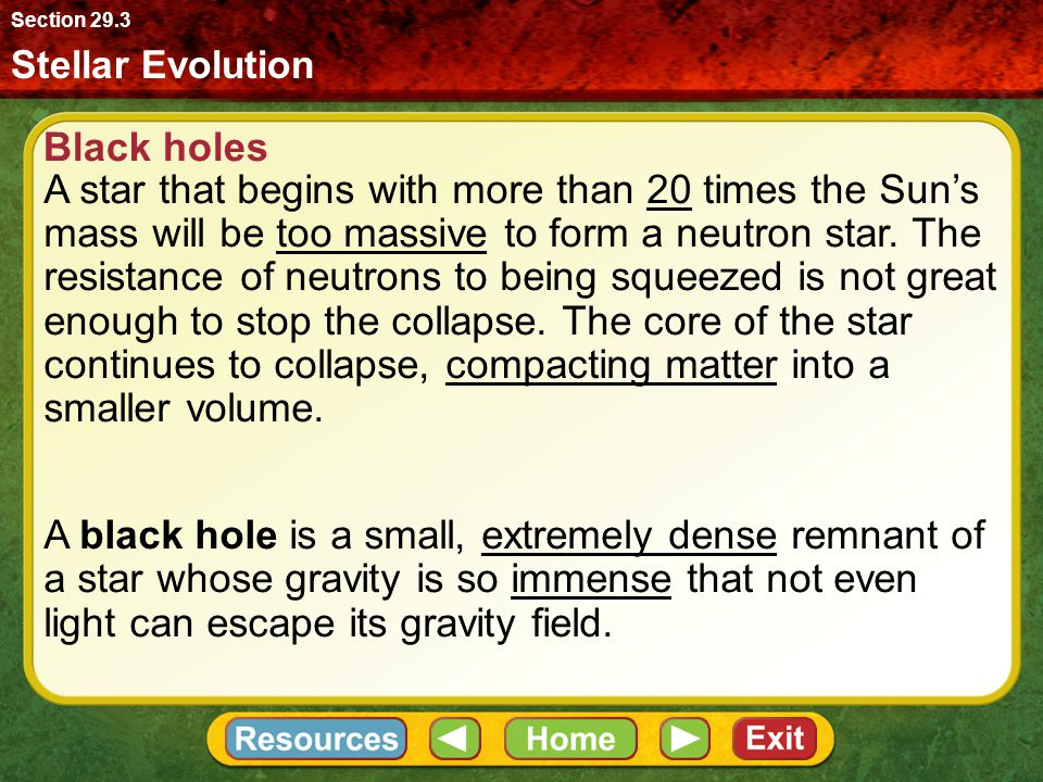 Section 29.3 Stellar Evolution. Black holes.